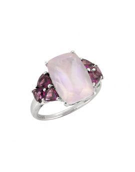7.30 Cts. Rose Quartz Rhodolite Solid 925 Sterling Silver Ring