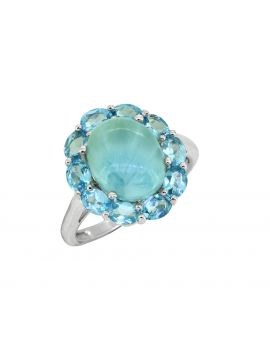 5.43 Cts. Larimar Blue Topaz 925 Sterling Silver Ring