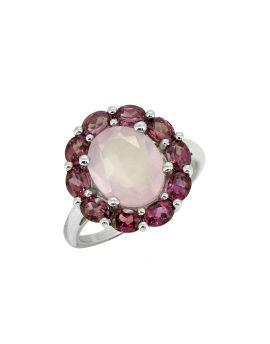 5.43 Cts. Rose Quartz 925 Sterling Silver Flower Cluster Ring