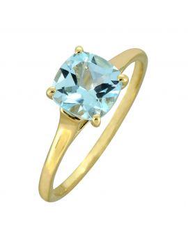 Sky Blue Topaz White Topaz Solid 10K Yellow Gold Gemstone Ring