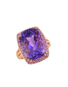 13.44 ct Amethyst Pink Sapphire Silver Rose Gold Plated Ring