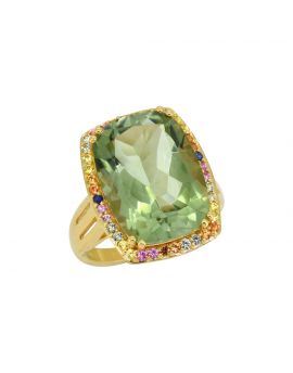 13.44 ct Green Amethyst Sterling Silver Yellow Gold Plated Ring