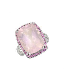 13.30 ct Rose Quartz Pink Tourmaline Sterling Silver Ring