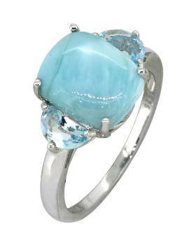 Larimar Sky Blue Topaz Solid 925 Sterling Silver Ring