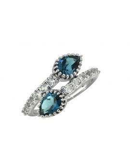2.18 Cts. London Blue Topaz Solid 925 Sterling Silver Ring