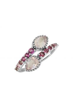 2.18 Cts. Rose Quartz Pink Tourmaline Sterling Silver Ring