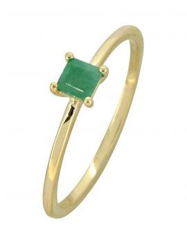 Sakota Emerald Solid 10K Yellow Gold Gemstone Ring