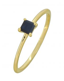 Blue Sapphire Solid 10K Yellow Gold Gemstone Ring