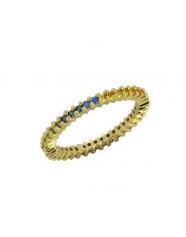 0.82 ct Multi Sapphire Solid 14k Gold Gemstone Ring