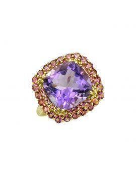 6.97 ct Pink Amethyst Solid 14k Gold Gemstone Ring