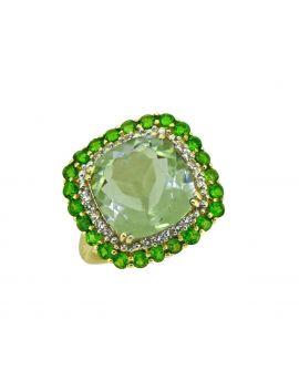 6.97 ct Green Amethyst Solid 14k Gold Gemstone Ring