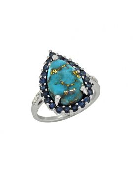 7.47 ct Turquoise Blue Sapphire Solid Sterling Silver Ring