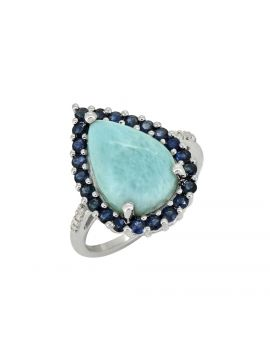 7.47 ct Larimar Blue Sapphire Solid Sterling Silver Ring