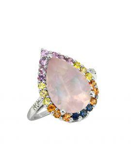 7.47 ct Rose Quartz Multi Gemstone Solid Sterling Silver Ring