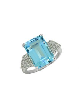 8.95 Cts. Blue Topaz Solid 925 Sterling Silver Ring