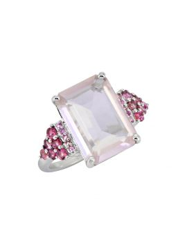 8.95 Ct. Rose Quartz Tourmaline Ring Solid 925 Sterling Silver