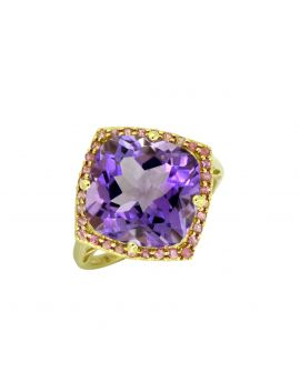 7.18 ct Amethyst Solid 14k Gold Gemstone Ring