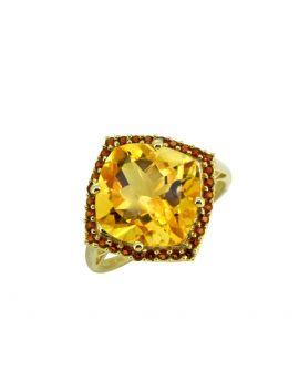 6.31 ct Citrine Solid 14k Gold Gemstone Ring