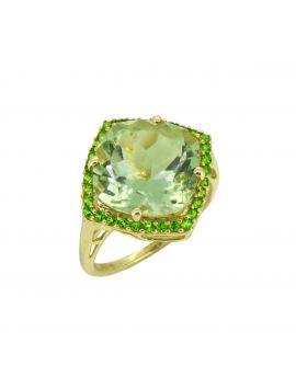 7.18 ct Green Amethyst Solid 14k Gold Gemstone Ring