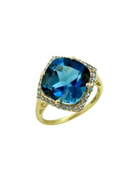 7.17 ct London Blue Topaz Solid 14k Gold Gemstone Ring