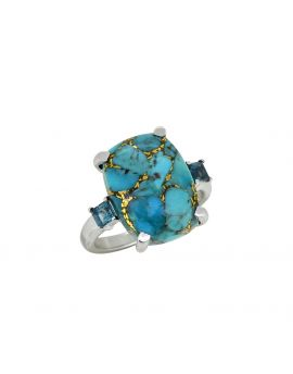 11.18 ct Blue Turquoise London Blue Topaz Silver Ring