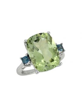 11.18 ct Green Amethyst Solid 925 Sterling Silver Ring