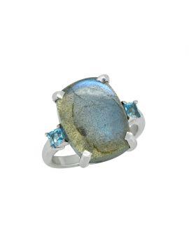 11.18 ct Labradorite  Swiss Blue Topaz Sterling Silver Ring