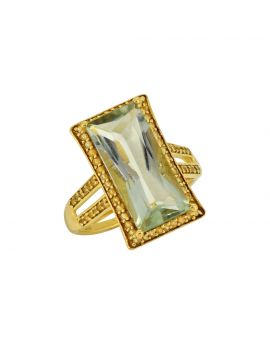 6.65 ct Green Amethyst Sterling Silver Gold Plated Ring