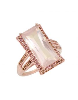 6.65 ct Rose Quartz Pink Tourmaline Silver Gold Plated Ring