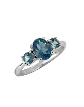 1.66 Cts. London Blue Topaz Solid 925 Sterling Silver Ring