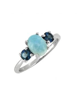 1.66 Cts. Larimar London Blue Topaz Solid 925 Sterling Silver Ring