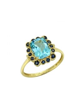 2.69 Ct. Sky Blue Topaz Solid 14K Yellow Ring