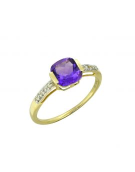 1.69 Ct. Amethyst White Topaz Solid 14K Yellow Ring