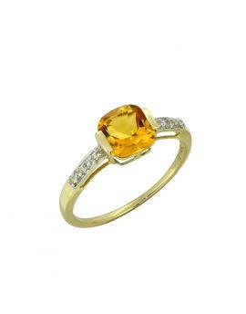 1.69 Ct. Citrine White Topaz Solid 14K Yellow Ring