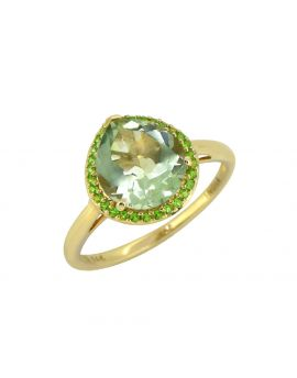3.61 Ct. Green Amethyst Chrome Diopside Solid 14K Yellow Ring