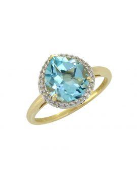 3.61 Ct. Sky Blue Topaz White Zircon Solid 14K Yellow Ring