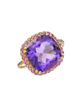 6.98 Ct. Amethyst Pink Tourmaline Solid 14K Yellow Gold Ring