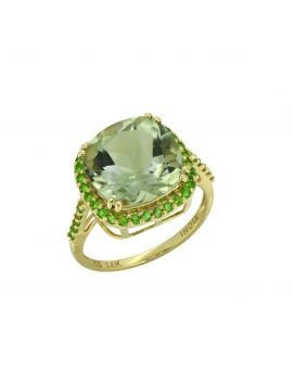 6.98 Ct. Green Amethyst Chrome Diopside Solid 14K Yellow Gold Ring