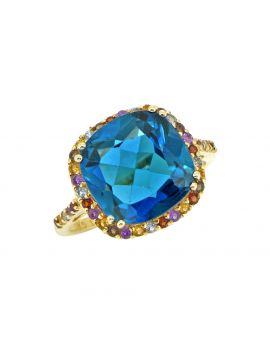 7.88 Ct. London Blue Topaz Solid 14K Yellow Gold Ring