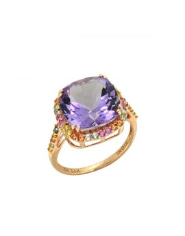 6.98 Ct. Pink Amethyst Solid 14k Rose Gold Ring