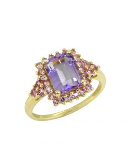 2.78 Ct. Pink Amethyst Pink Sapphire Solid 14K Yellow Ring