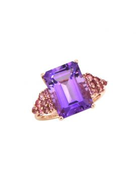 8.95 Ct. Amethyst Solid 14k Rose Gold Ring