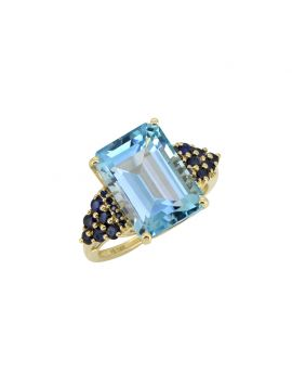 8.95 Ct. Sky Blue Topaz Solid 14K Yellow Ring