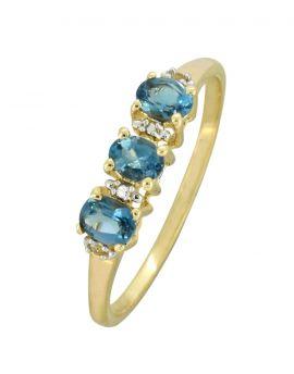 London Blue Topaz White Topaz Solid 10K Yellow Gold Gemstone Ring