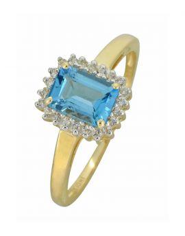 Swiss Blue Topaz White Topaz Solid 10K Yellow Gold Gemstone Ring
