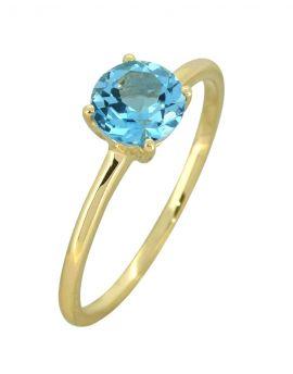 Swiss Blue Topaz Solid 10K Yellow Gold Gemstone Ring