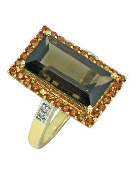 18k Gold Plated 925 Silver Smoky Quartz & Citrine Designer Ring