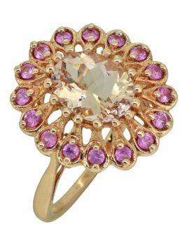 18k Rose Gold Plated Sterling Silver Morganite & Pink Sapphire Cocktail Ring