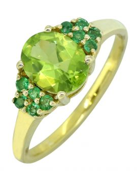 Green Peridot Emerald 925 Sterling Silver 18k Gold Plated Ring
