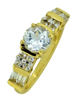 Round White Topaz 925 Sterling Silver 18k Gold Plated Ring